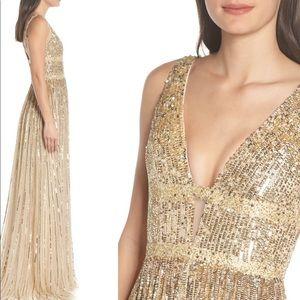 Mac Duggal - Deep V sequin gown
